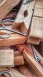 Pegs de madeira Fotografia de Stock Royalty Free