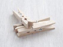 Pegs de madeira de pano Foto de Stock Royalty Free