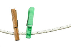Pegs on a rope Royalty Free Stock Photos