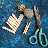 Pegs rope and scissors royalty free stock images
