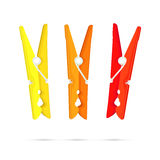 Pegs - Yellow, Orange and Red Stock Photo