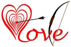 Pegue en amor, en el medio del corazón, arco con la flecha Foto de archivo