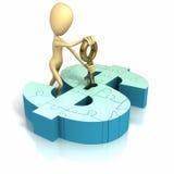 Pegue la figura clave de inserción en el dinero Foto de archivo libre de regalías