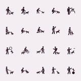 Pegue las figuras Hombre con el perro ilustración del vector