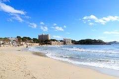 Peguera beach panorama and Mediterranean Sea on Majorca royalty free stock photo