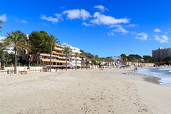 Peguera beach panorama and Mediterranean Sea on Majorca. Spain royalty free stock photo