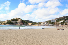 Peguera beach panorama and Mediterranean Sea on Majorca. Spain stock photography
