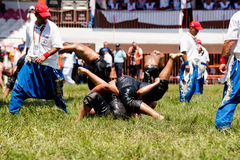 Pehlivan turco de los luchadores en la competencia en Kirkpinar tradicional que lucha Fotos de archivo libres de regalías