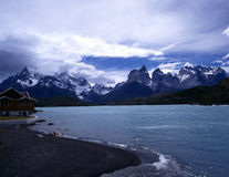 Pehoe Hotel at Torres del Paine in Patagonia Stock Photo