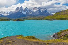 Pehoe Lake and Cuernos del Paine, Patagonia, Chile. The turquoise waters of Pehoe Lake, Torres del Paine national park, Patagonia, Chile stock photography