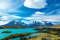 Pehoe lake and Guernos mountains landscape, national park Torres del Paine, Patagonia, Chile, South America royalty free stock photo