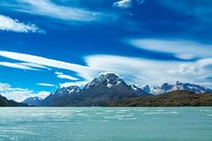 Pehoe lake and Guernos mountains landscape, national park Torres del Paine, Patagonia, Chile, South America stock image
