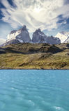 Pehoe mountain lake and Los Cuernos, Chile. Pehoe mountain lake and Los Cuernos, Torres del Paine National Park, Chile stock photo