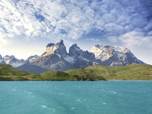 Pehoe mountain lake and Los Cuernos. Pehoe mountain lake and Los Cuernos, Torres del Paine National Park, Chile stock photo