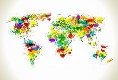Peignez éclabousse le fond de carte du monde illustration de vecteur