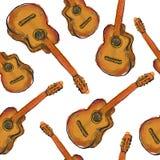 Peignez l'art sans couture de modèle de guitare illustration de vecteur