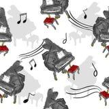 Peignez l'art sans couture de modèle de piano illustration libre de droits