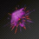 Peignez l'explosion de couleur de poudre sur le fond transparent illustration stock