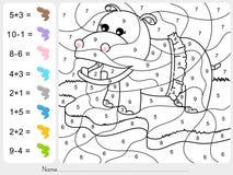 Peignez la couleur par des nombres - addition et fiche de travail de soustraction pour l'éducation Photo stock