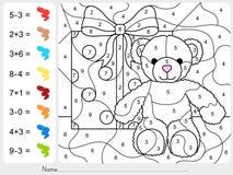 Peignez la couleur par des nombres - addition et fiche de travail de soustraction pour l'éducation Image libre de droits