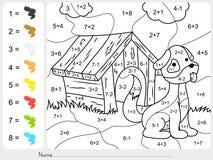Peignez la couleur par des nombres d'addition et de soustraction Images libres de droits