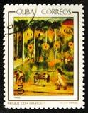 Peignez le paysage avec des tournesols par V Manuel, vers 1965 Image stock