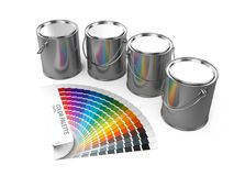 Peignez les boîtes et le guide de palette de couleurs d'isolement sur le fond blanc Photo stock