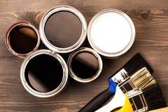 Peignez les boîtes et les brosses colorées Image stock