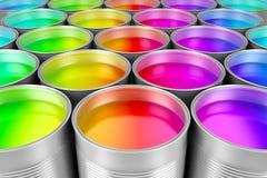 Peignez les boîtes de peinture colorée Photographie stock libre de droits