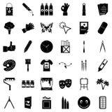 Peignez les icônes matérielles style réglé et simple Photos libres de droits