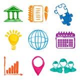 Peignez les icônes d'affaires Photographie stock libre de droits