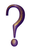 Peignot Question Mark bevelled beaten brass Royalty Free Stock Image