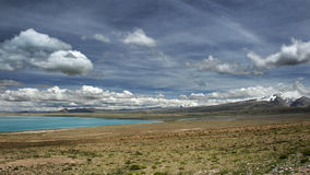 Peiku lake. Took this photo in Ali area, Tibet, in the way to Mount Kangrinboqê,this mountain is holy mountain in the heart of Buddhists',every year royalty free stock photo