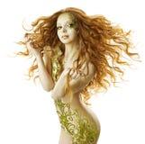 Peinado atractivo de la fantasía de la mujer, maquillaje de la moda Imágenes de archivo libres de regalías