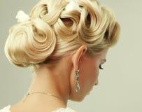 Peinado de la boda de la belleza. Novia Fotografía de archivo libre de regalías