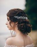 Peinado de la boda de la novia Fotografía de archivo