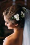 Peinado de la novia, decoraciones hermosas de la boda de la flor en cabeza Fotografía de archivo