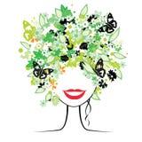 Peinado floral, mujer Fotografía de archivo libre de regalías