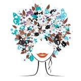 Peinado floral, mujer Fotos de archivo