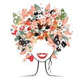 Peinado floral, mujer hermosa Fotografía de archivo