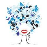 Peinado floral, mujer hermosa Foto de archivo libre de regalías