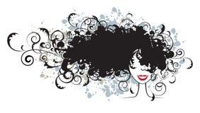 Peinado floral, silueta de la cara de la mujer Imágenes de archivo libres de regalías