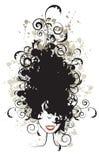 Peinado floral, silueta de la cara de la mujer Fotos de archivo