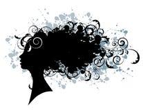 Peinado floral, silueta de la cara de la mujer Imagen de archivo libre de regalías