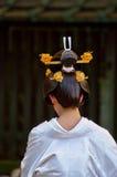 Peinado japonés tradicional de la boda Imagen de archivo libre de regalías