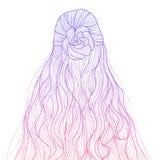 Peinado largo del pelo del estilo del bosquejo de la pendiente Imagen de archivo