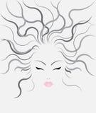Peinados de las mujeres del vector en fondo gris Foto de archivo