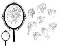 Peinados de las mujeres, espejo stock de ilustración