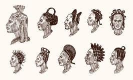 Peinados masculinos nacionales africanos Perfil de un hombre con el pelo rizado Diversos Dreadlocks del Afro Caras antiguas de la stock de ilustración