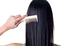 Peinar el pelo femenino fotografía de archivo libre de regalías